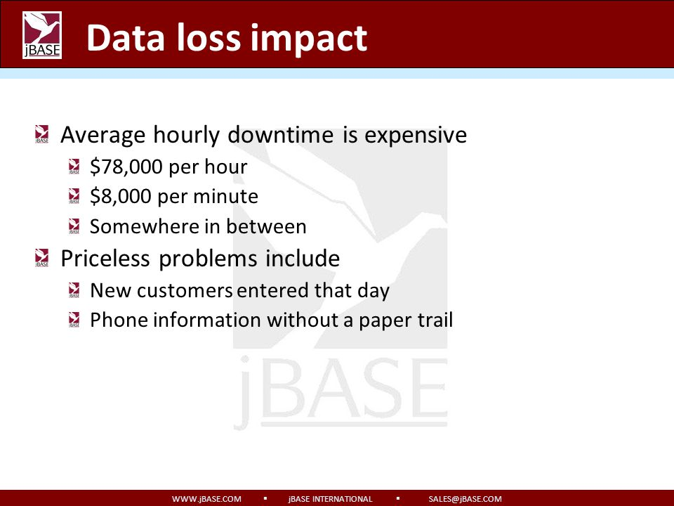 WWW.jBASE.COM jBASE INTERNATIONAL SALES@jBASE.COM Where is your data? 1970s Everything is written down All papers are filed (usually twice) Receipts a