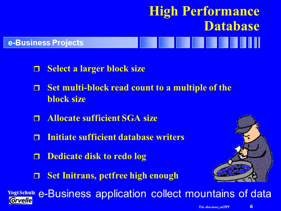 File: ebusiness_ref.PPT 6 Yogi Schulz e-Business Projects High Performance Database r Select a larger block size r Set multi-block read count to a multiple of the block size r Allocate sufficient SGA size r Initiate sufficient database writers r Dedicate disk to redo log r Set Initrans, pctfree high enough e-Business application collect mountains of data