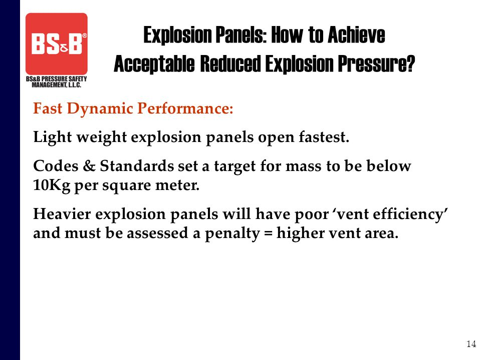 14 Explosion Panels: How to Achieve Acceptable Reduced Explosion Pressure? Fast Dynamic Performance: Light weight explosion panels open fastest. Codes