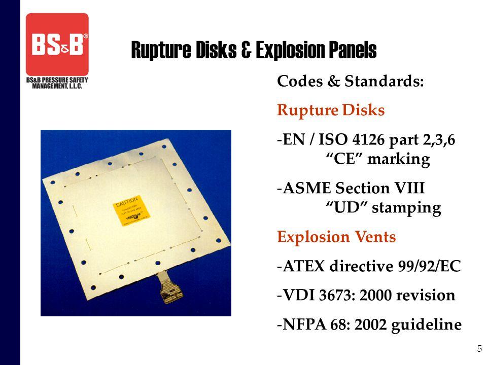 5 Rupture Disks & Explosion Panels Codes & Standards: Rupture Disks -EN / ISO 4126 part 2,3,6 CE marking -ASME Section VIII UD stamping Explosion Vents -ATEX directive 99/92/EC -VDI 3673: 2000 revision -NFPA 68: 2002 guideline