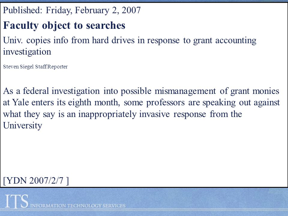 Published: Friday, February 2, 2007 Faculty object to searches Univ.