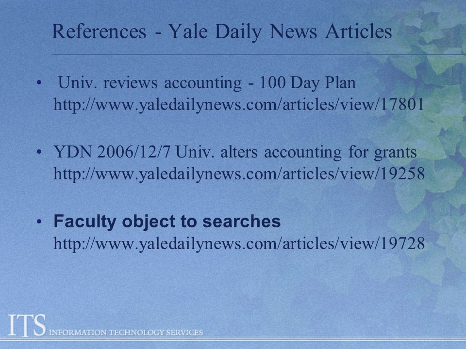 References - Yale Daily News Articles Univ.