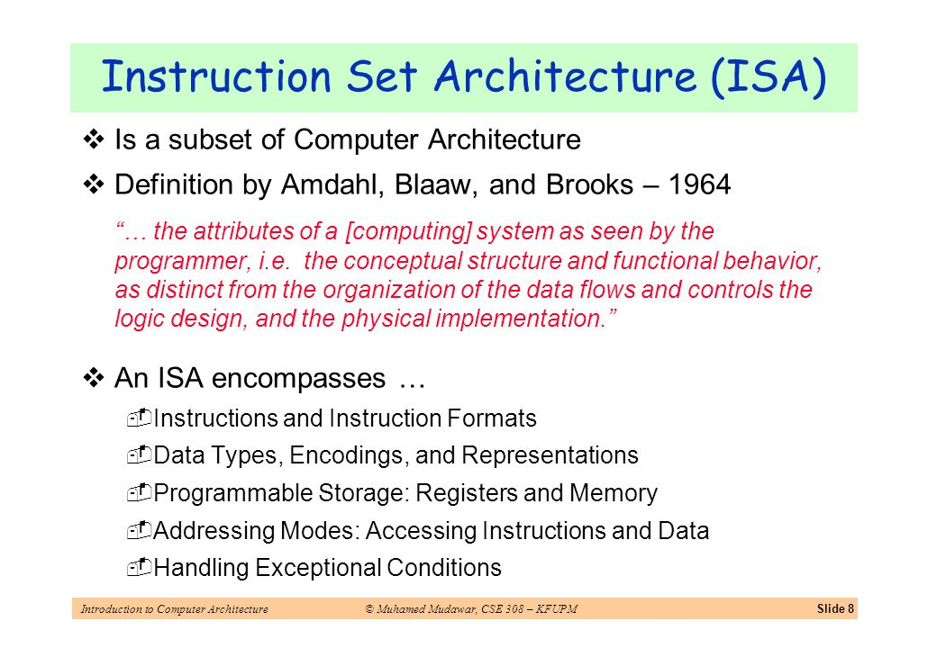 Introduction to Computer Architecture© Muhamed Mudawar, CSE 308 – KFUPMSlide 8 Is a subset of Computer Architecture Definition by Amdahl, Blaaw, and B