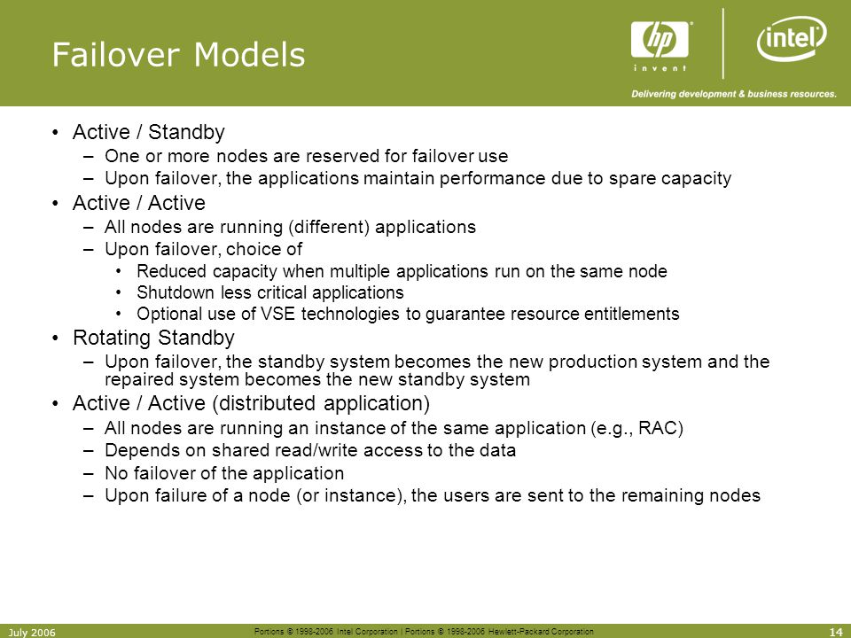 Portions © 1998-2006 Intel Corporation | Portions © 1998-2006 Hewlett-Packard Corporation 14 July 2006 Failover Models Active / Standby –One or more n