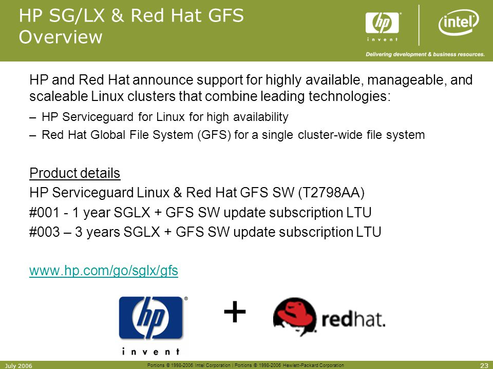 Portions © 1998-2006 Intel Corporation | Portions © 1998-2006 Hewlett-Packard Corporation 23 July 2006 HP SG/LX & Red Hat GFS Overview HP and Red Hat