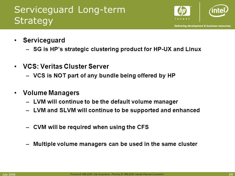 Portions © 1998-2006 Intel Corporation | Portions © 1998-2006 Hewlett-Packard Corporation 24 July 2006 Serviceguard Long-term Strategy Serviceguard –S