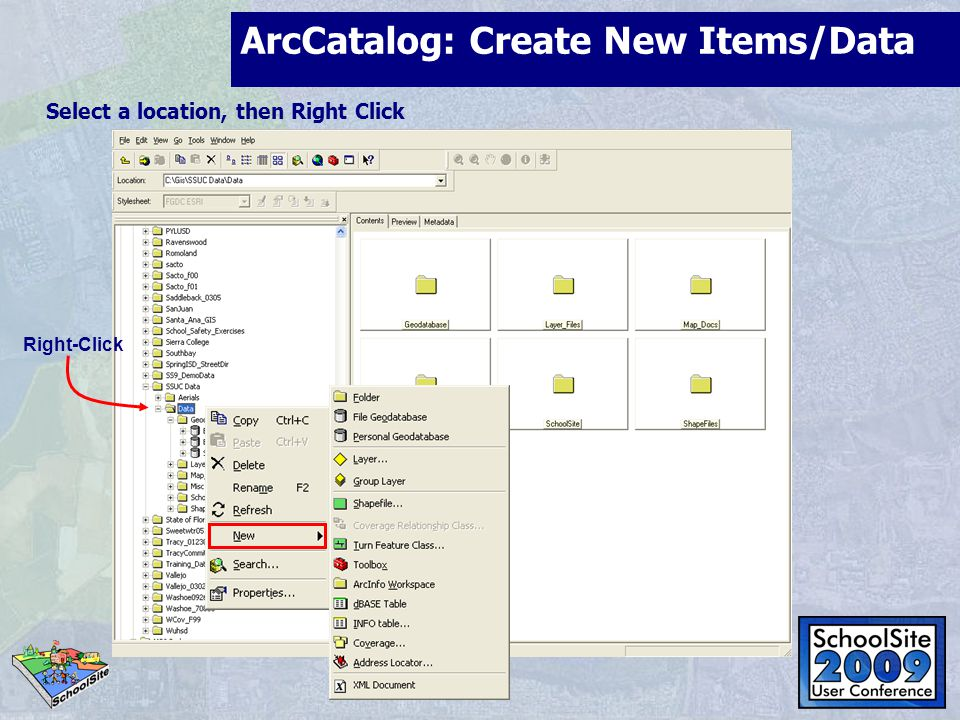 ArcCatalog: Create New Items/Data Select an item, then File/New Select a location, then Right Click Right-Click