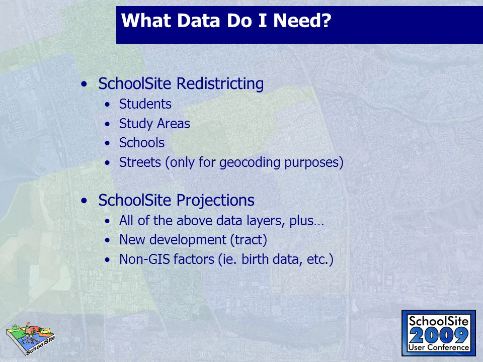 What Data Do I Need? SchoolSite Redistricting Students Study Areas Schools Streets (only for geocoding purposes) SchoolSite Projections All of the abo