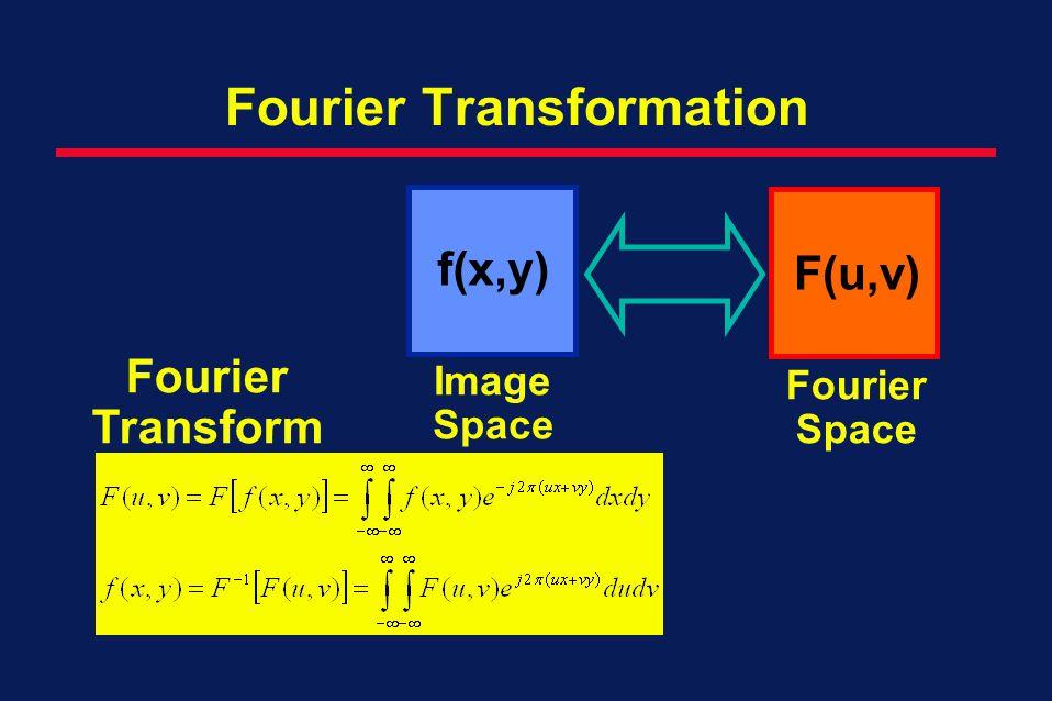 Fourier Transformation Fourier Transform f(x,y) F(u,v) Image Space Fourier Space