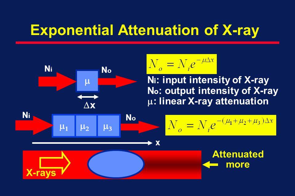 Exponential Attenuation of X-ray x NoNo NiNi x X-rays Attenuated more NoNo NiNi N i : input intensity of X-ray N o : output intensity of X-ray : linear X-ray attenuation