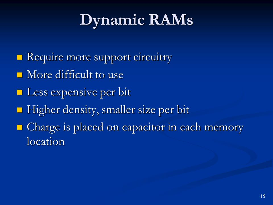 Dynamic RAMs Require more support circuitry Require more support circuitry More difficult to use More difficult to use Less expensive per bit Less exp