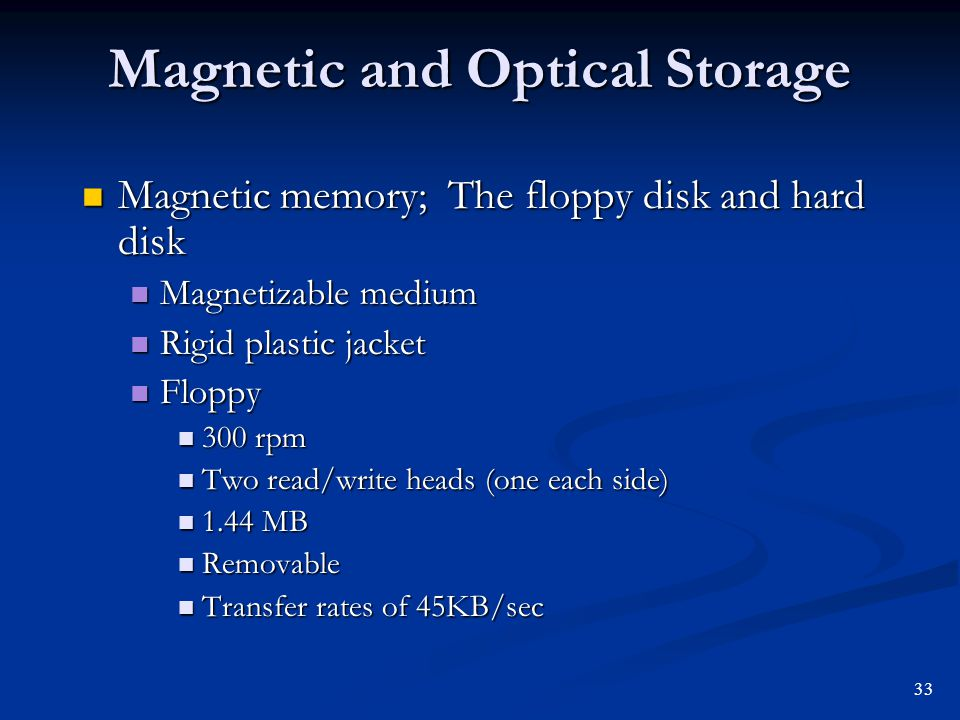 Magnetic and Optical Storage Magnetic memory; The floppy disk and hard disk Magnetic memory; The floppy disk and hard disk Magnetizable medium Magneti