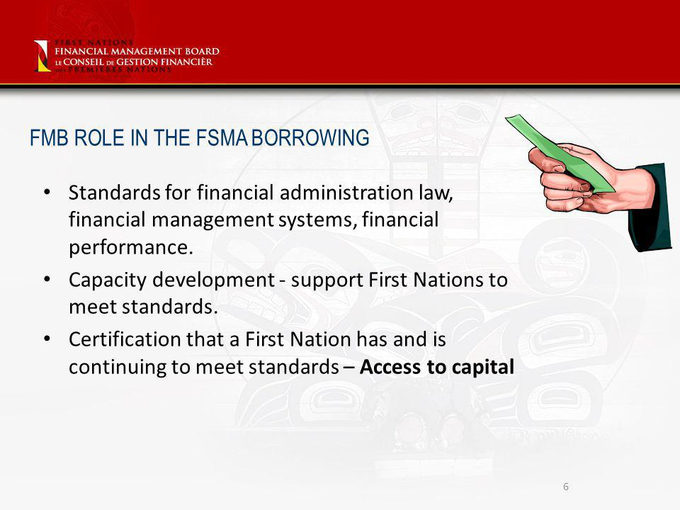 Standards for financial administration law, financial management systems, financial performance.
