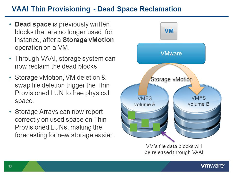 13 VAAI Thin Provisioning - Dead Space Reclamation Dead space is previously written blocks that are no longer used, for instance, after a Storage vMotion operation on a VM.