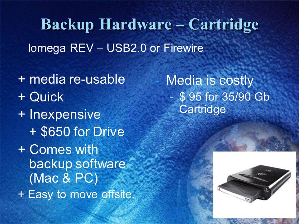 Backup Hardware – Cartridge + media re-usable + Quick + Inexpensive + $650 for Drive + Comes with backup software (Mac & PC) + Easy to move offsite.