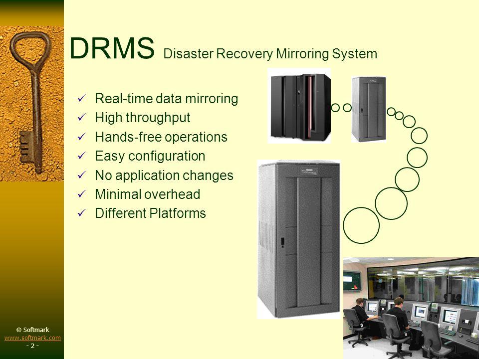 © Softmark www.softmark.com www.softmark.com - 3 - DRMS Primary Servers DRMS Backup Servers SQL XML Comma Del.