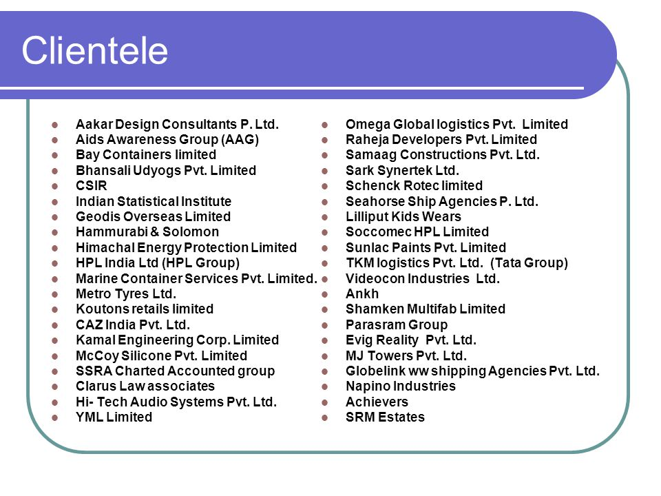 Clientele Aakar Design Consultants P. Ltd.