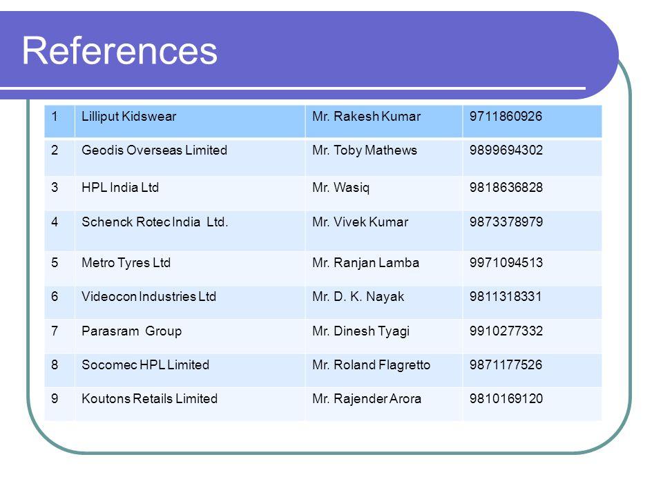 References 1Lilliput KidswearMr. Rakesh Kumar9711860926 2Geodis Overseas LimitedMr.