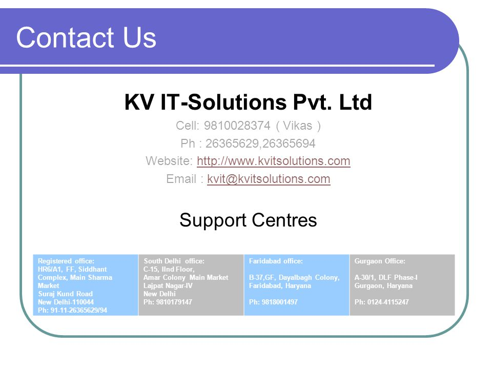 Contact Us KV IT-Solutions Pvt.