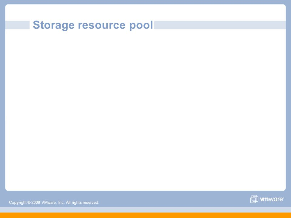 Copyright © 2008 VMware, Inc. All rights reserved. Storage resource pool