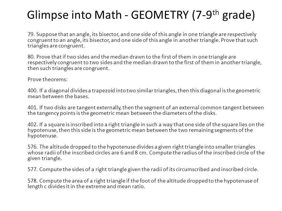 Glimpse into Math - GEOMETRY (7-9 th grade) 79.