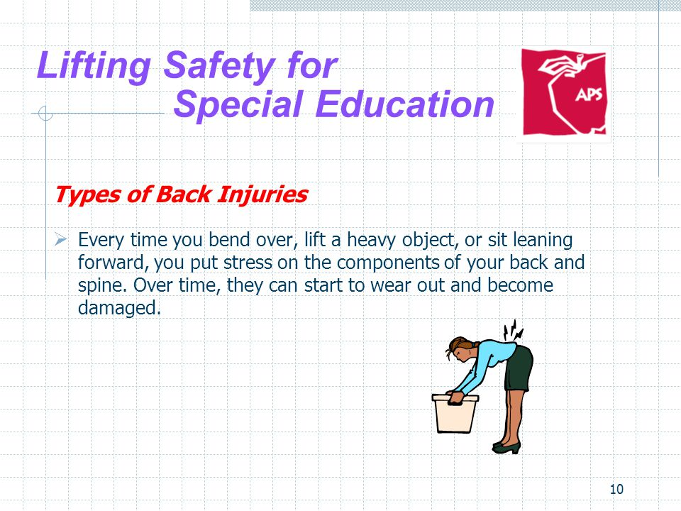 10 Lifting Safety for Special Education Types of Back Injuries Every time you bend over, lift a heavy object, or sit leaning forward, you put stress o