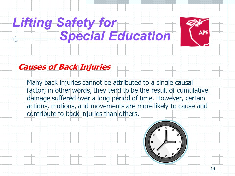 13 Lifting Safety for Special Education Causes of Back Injuries Many back injuries cannot be attributed to a single causal factor; in other words, the