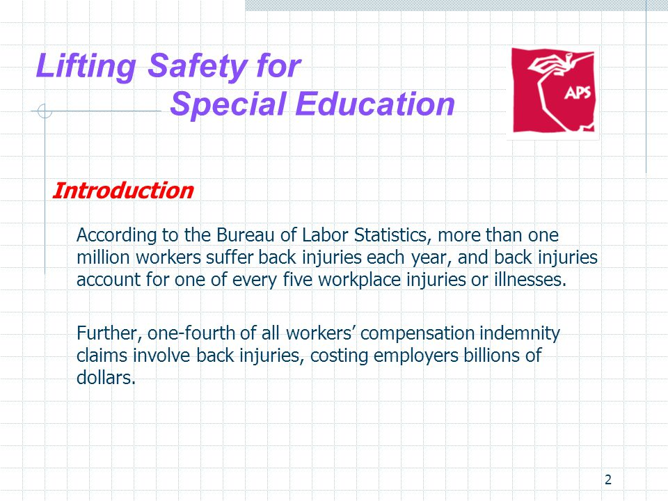 13 Lifting Safety for Special Education Causes of Back Injuries Many back injuries cannot be attributed to a single causal factor; in other words, they tend to be the result of cumulative damage suffered over a long period of time.