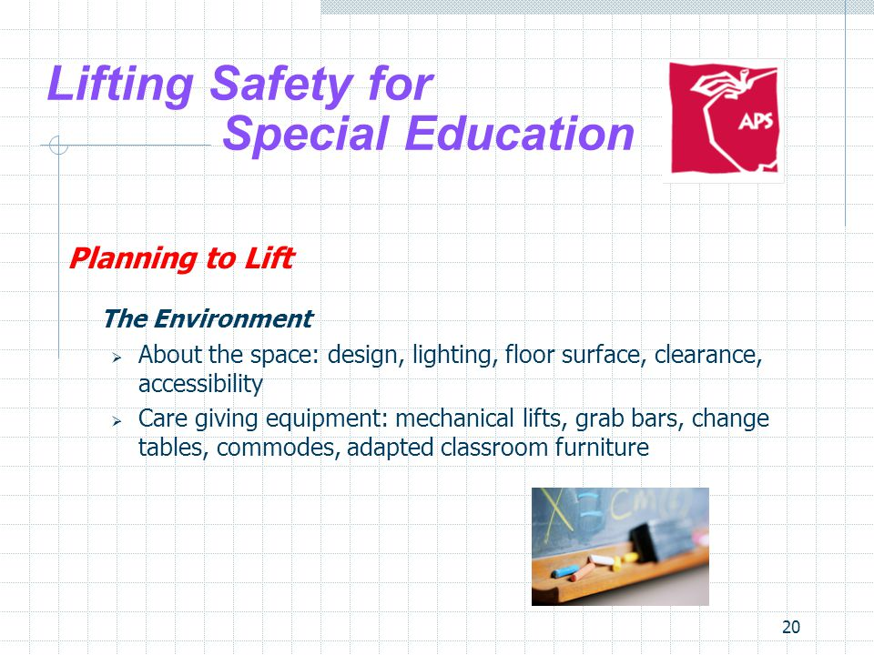20 Lifting Safety for Special Education Planning to Lift The Environment About the space: design, lighting, floor surface, clearance, accessibility Ca