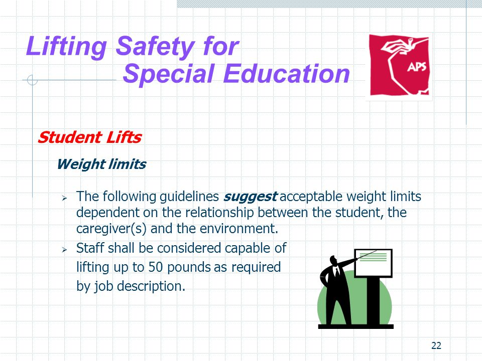 22 Lifting Safety for Special Education Student Lifts Weight limits The following guidelines suggest acceptable weight limits dependent on the relatio