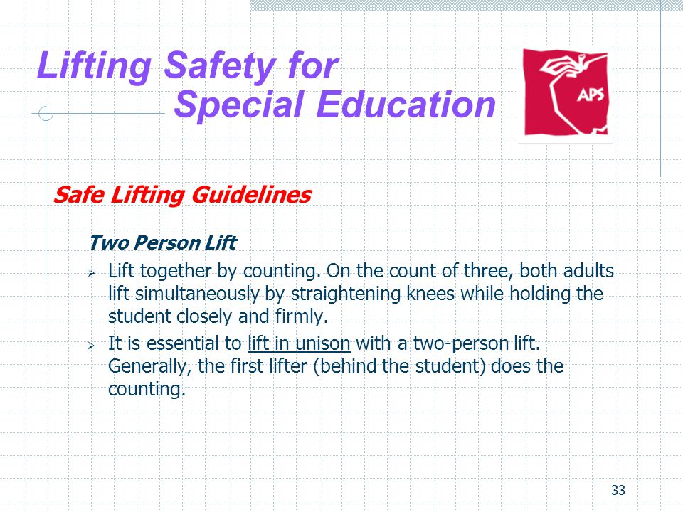 33 Lifting Safety for Special Education Safe Lifting Guidelines Two Person Lift Lift together by counting. On the count of three, both adults lift sim