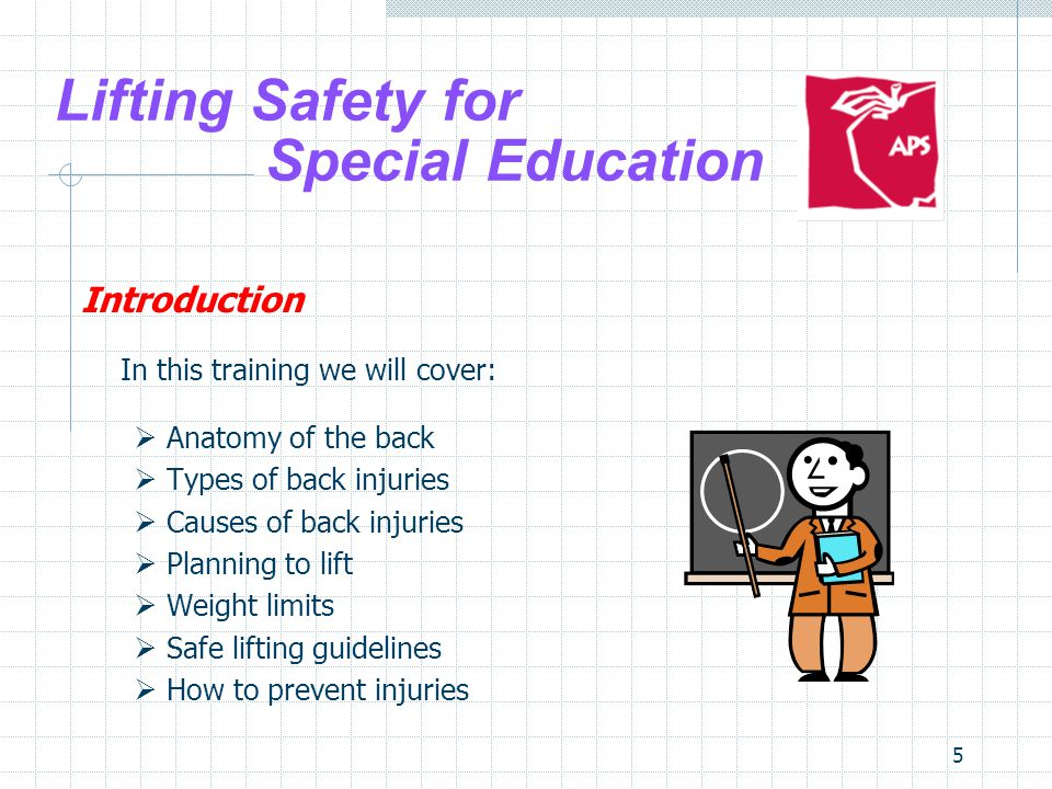 5 Lifting Safety for Special Education Introduction In this training we will cover: Anatomy of the back Types of back injuries Causes of back injuries