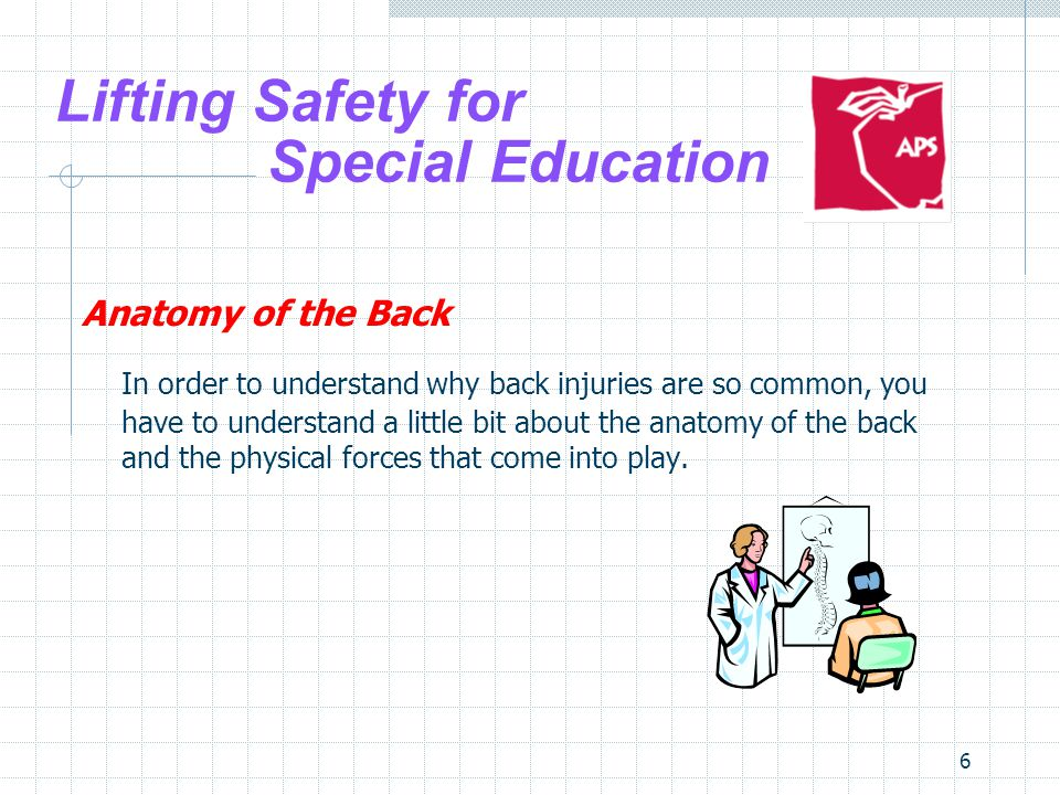 17 Lifting Safety for Special Education Planning to Lift The Student Other factors to consider are involving the student are: Cognitive Neurological Sensory Musculoskeletal Physical Behavior