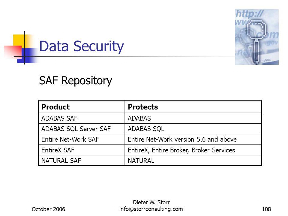 October 2006 Dieter W. Storr info@storrconsulting.com108 Data Security ProductProtects ADABAS SAFADABAS ADABAS SQL Server SAFADABAS SQL Entire Net-Wor
