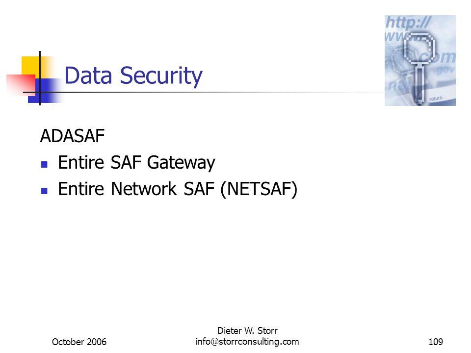October 2006 Dieter W. Storr info@storrconsulting.com109 Data Security ADASAF Entire SAF Gateway Entire Network SAF (NETSAF)