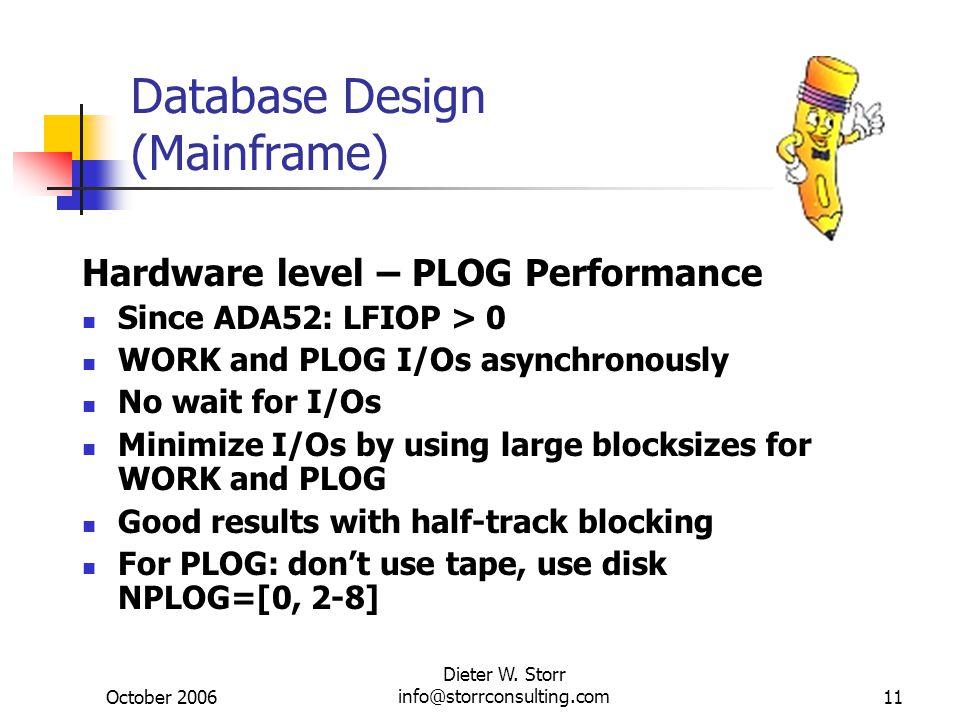 October 2006 Dieter W. Storr info@storrconsulting.com11 Database Design (Mainframe) Hardware level – PLOG Performance Since ADA52: LFIOP > 0 WORK and