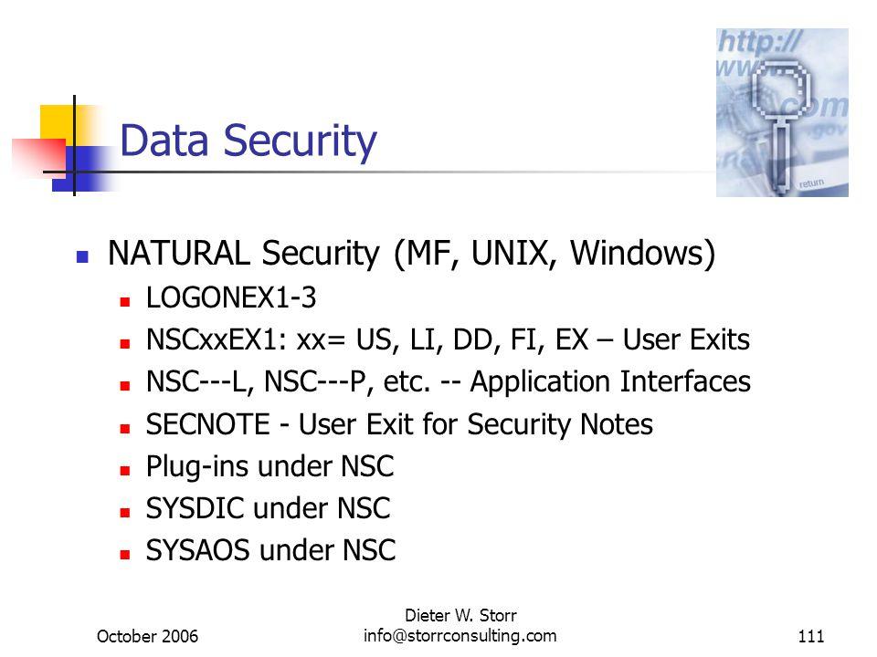 October 2006 Dieter W. Storr info@storrconsulting.com111 Data Security NATURAL Security (MF, UNIX, Windows) LOGONEX1-3 NSCxxEX1: xx= US, LI, DD, FI, E