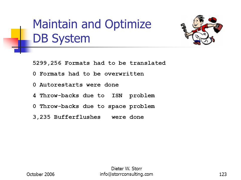 October 2006 Dieter W. Storr info@storrconsulting.com123 Maintain and Optimize DB System 5299,256 Formats had to be translated 0 Formats had to be ove