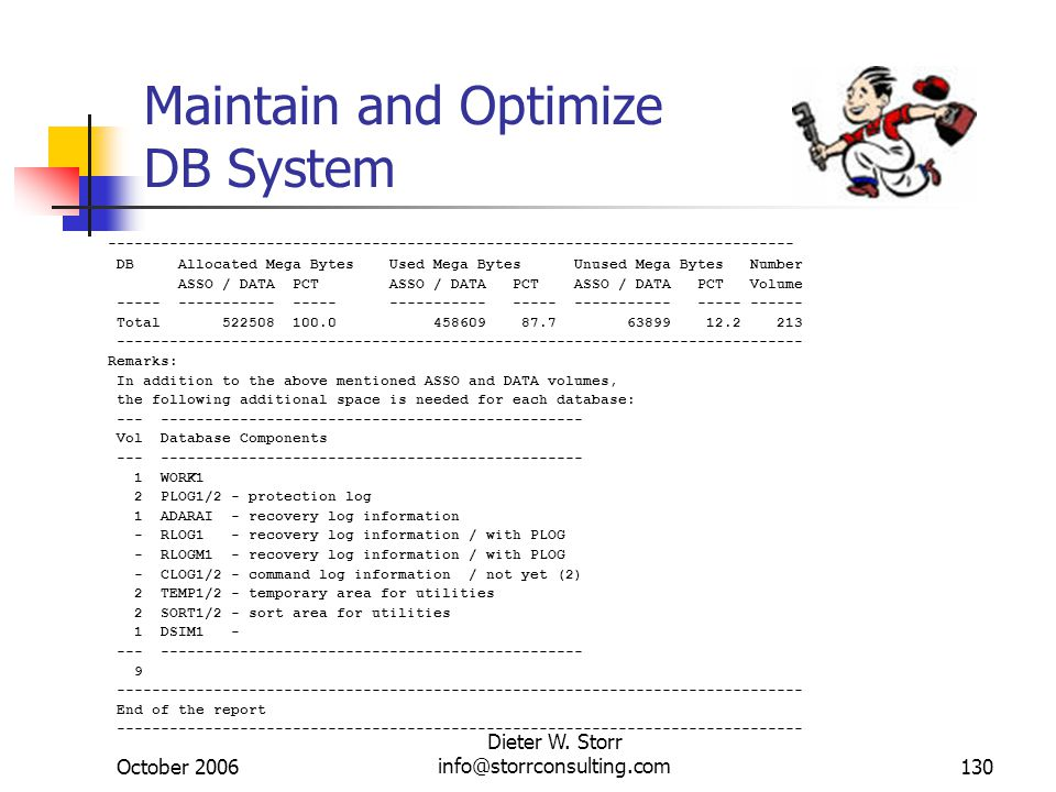 October 2006 Dieter W. Storr info@storrconsulting.com130 Maintain and Optimize DB System -------------------------------------------------------------