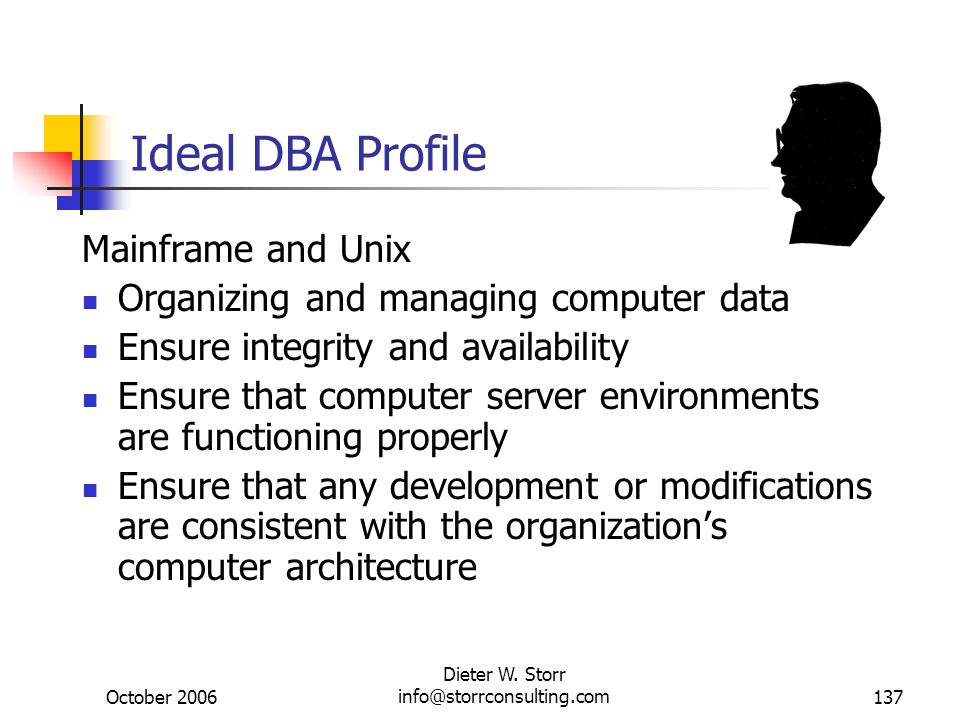 October 2006 Dieter W. Storr info@storrconsulting.com137 Ideal DBA Profile Mainframe and Unix Organizing and managing computer data Ensure integrity a