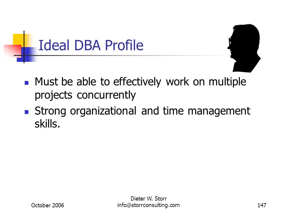 October 2006 Dieter W. Storr info@storrconsulting.com147 Ideal DBA Profile Must be able to effectively work on multiple projects concurrently Strong o