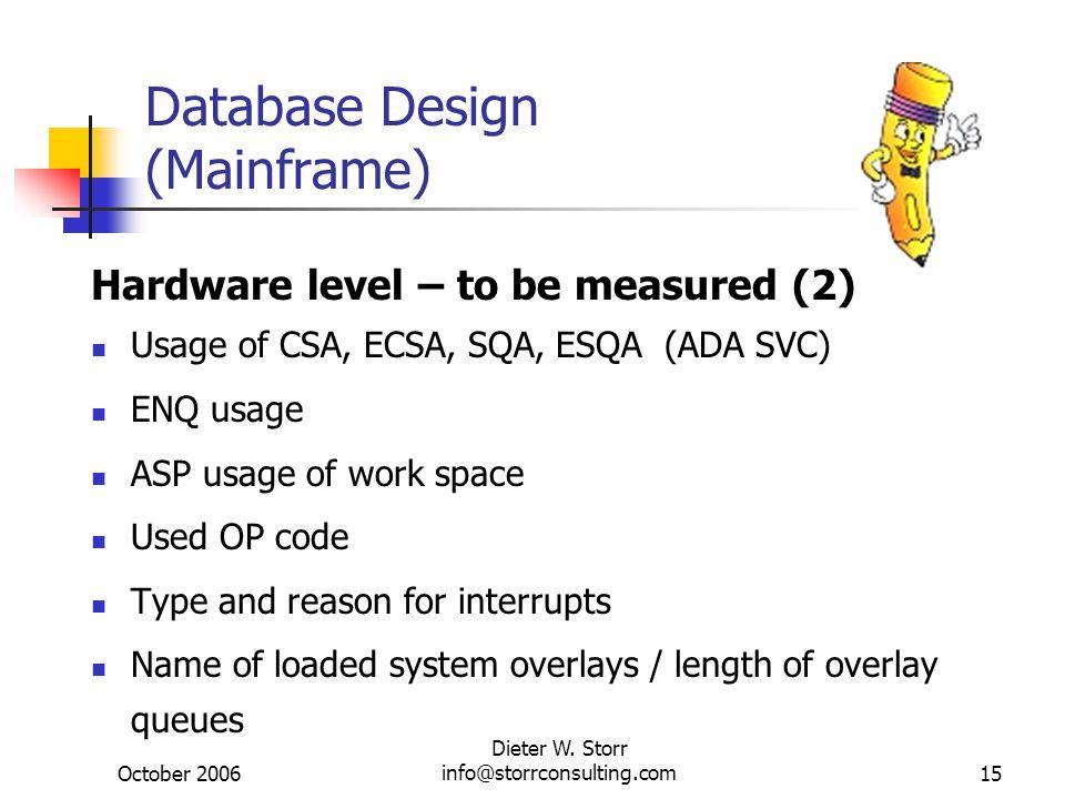 October 2006 Dieter W. Storr info@storrconsulting.com15 Database Design (Mainframe) Hardware level – to be measured (2) Usage of CSA, ECSA, SQA, ESQA