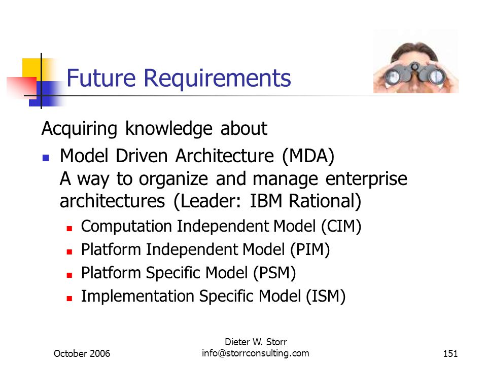 October 2006 Dieter W. Storr info@storrconsulting.com151 Future Requirements Acquiring knowledge about Model Driven Architecture (MDA) A way to organi