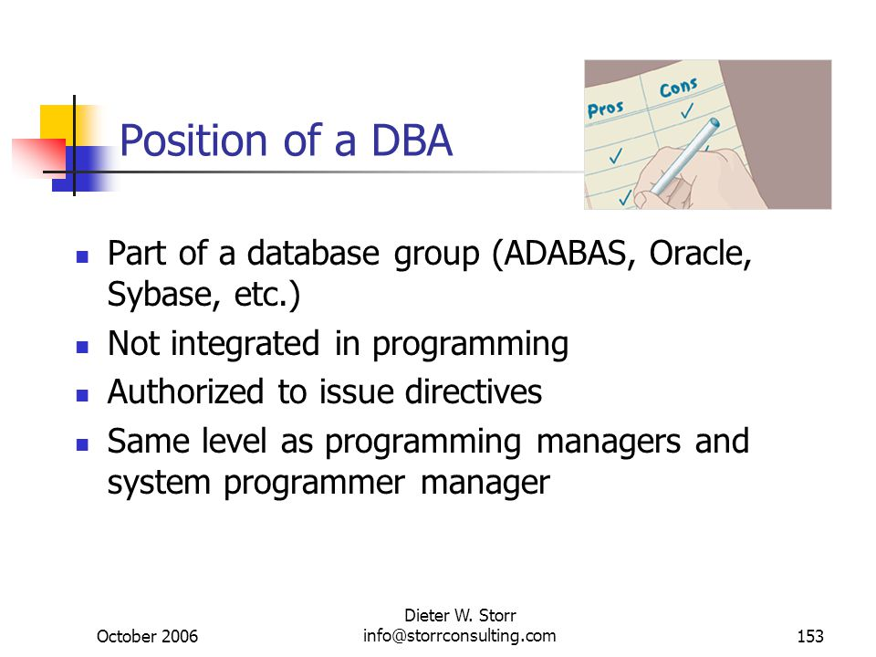 October 2006 Dieter W. Storr info@storrconsulting.com153 Position of a DBA Part of a database group (ADABAS, Oracle, Sybase, etc.) Not integrated in p
