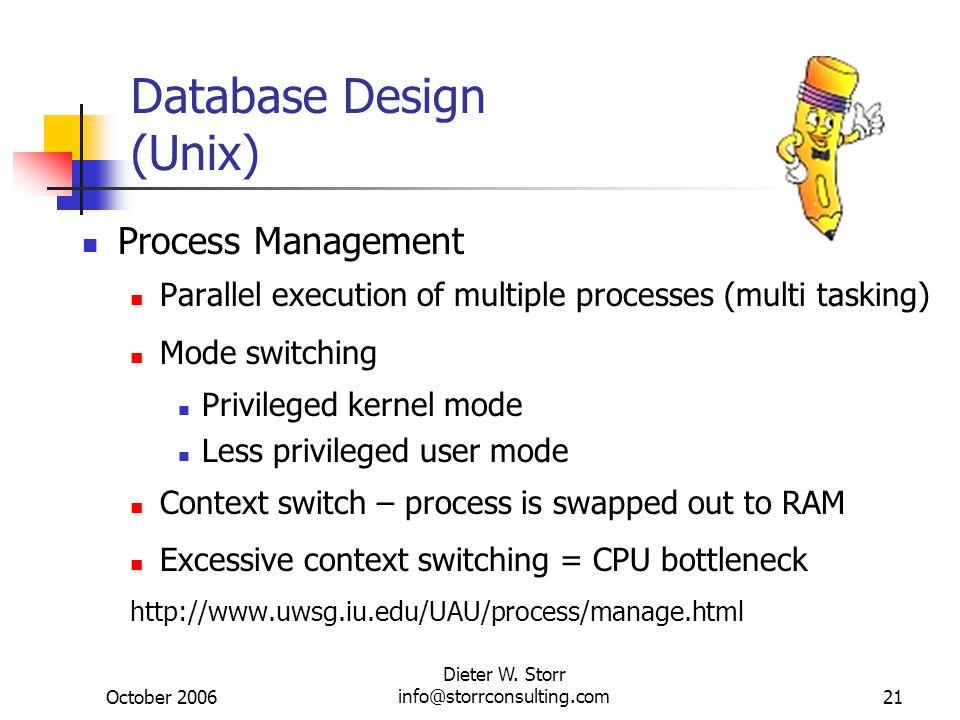 October 2006 Dieter W. Storr info@storrconsulting.com21 Database Design (Unix) Process Management Parallel execution of multiple processes (multi task