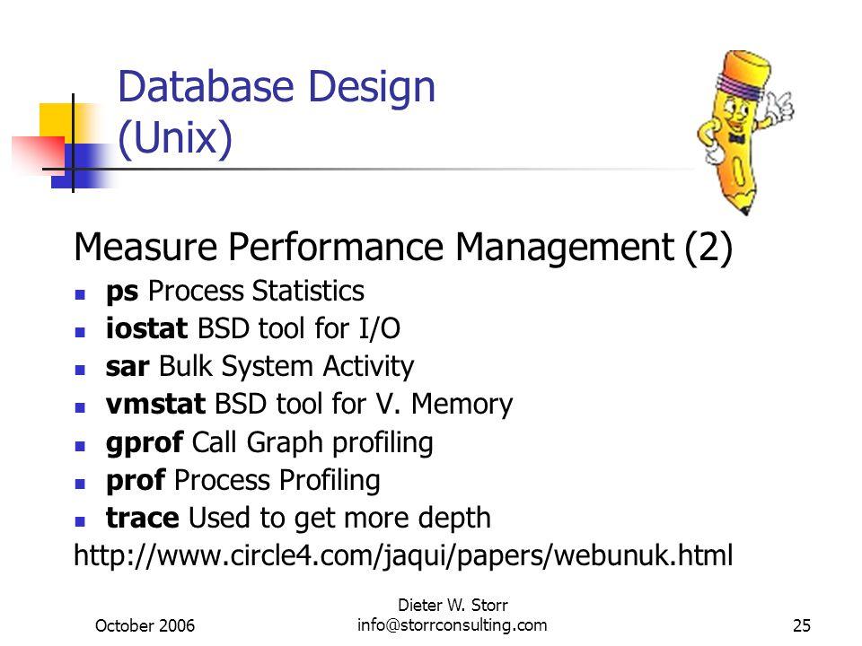 October 2006 Dieter W. Storr info@storrconsulting.com25 Database Design (Unix) Measure Performance Management (2) ps Process Statistics iostat BSD too