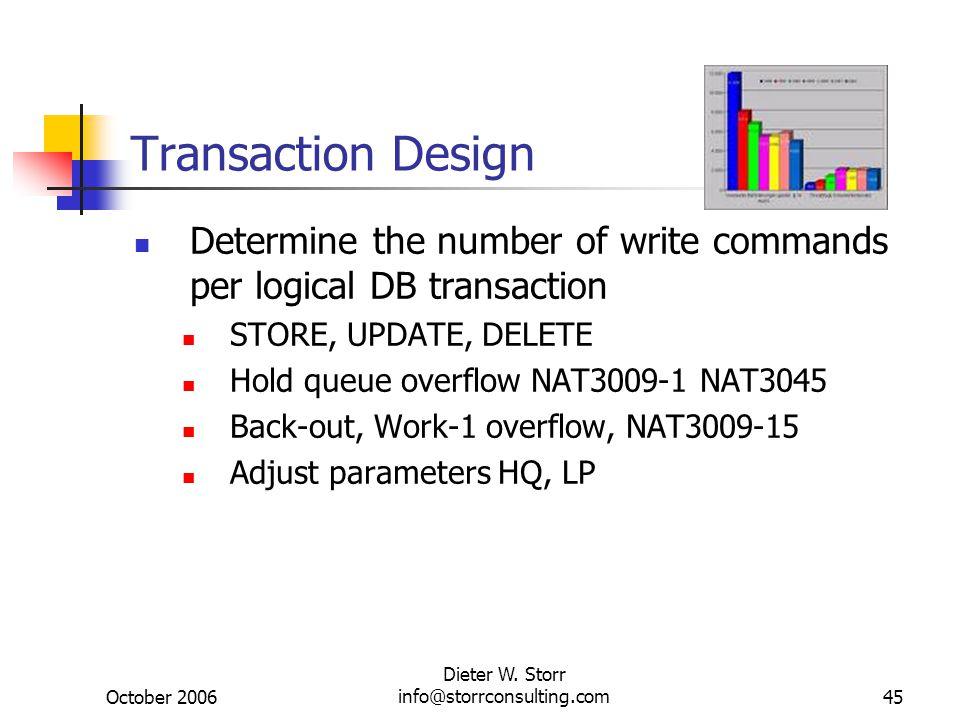 October 2006 Dieter W. Storr info@storrconsulting.com45 Transaction Design Determine the number of write commands per logical DB transaction STORE, UP