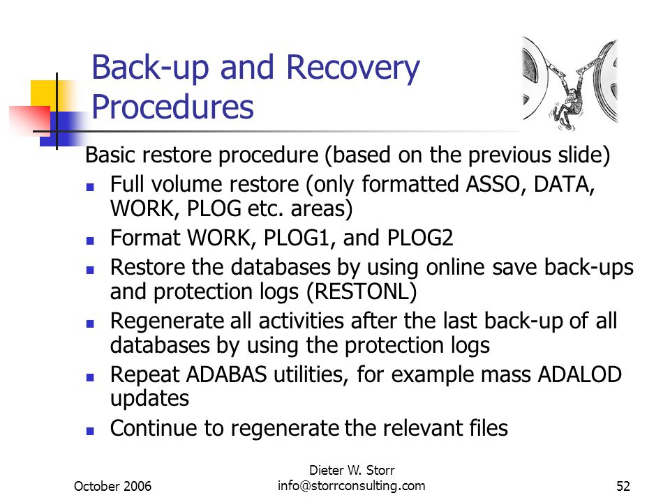 October 2006 Dieter W. Storr info@storrconsulting.com52 Back-up and Recovery Procedures Basic restore procedure (based on the previous slide) Full vol