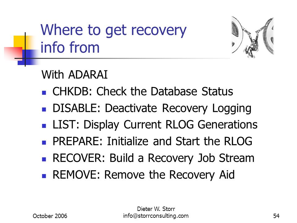 October 2006 Dieter W. Storr info@storrconsulting.com54 Where to get recovery info from With ADARAI CHKDB: Check the Database Status DISABLE: Deactiva