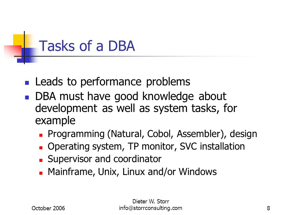 October 2006 Dieter W. Storr info@storrconsulting.com8 Tasks of a DBA Leads to performance problems DBA must have good knowledge about development as